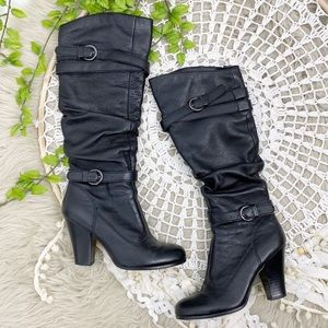 Steve Madden Leather Slouchy Knee Boots Black Sz 7